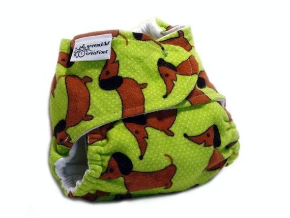 Fitted Cloth Diaper, OS, Flannel - Dachsund, lime green
