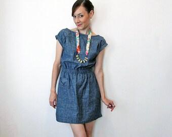 Milan Eco Denim dress - Hemp & Organic cotton denim / Eco fashion dress
