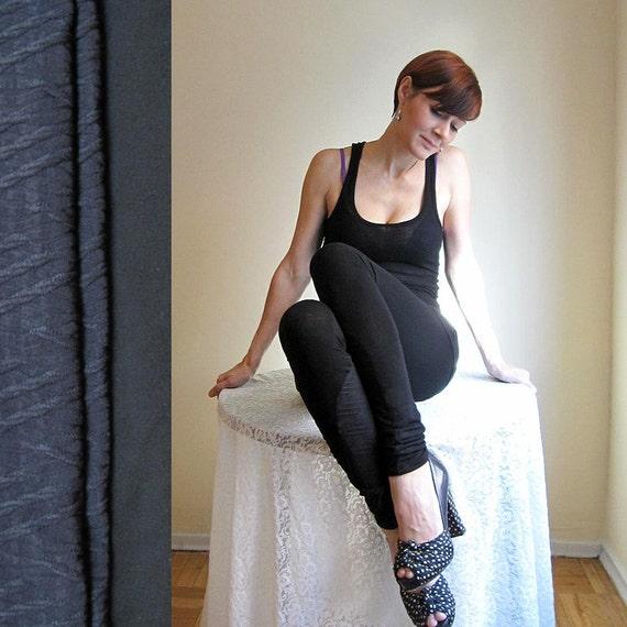 Black fashion leggings - Eco bamboo and cable knit jodphur combo