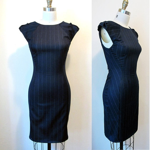 BOXING week sale - XS/SM only - Navy Sionara - Bodycon pinstripe stretch denim wiggle dress - Simone's Rose Fall fashion collection