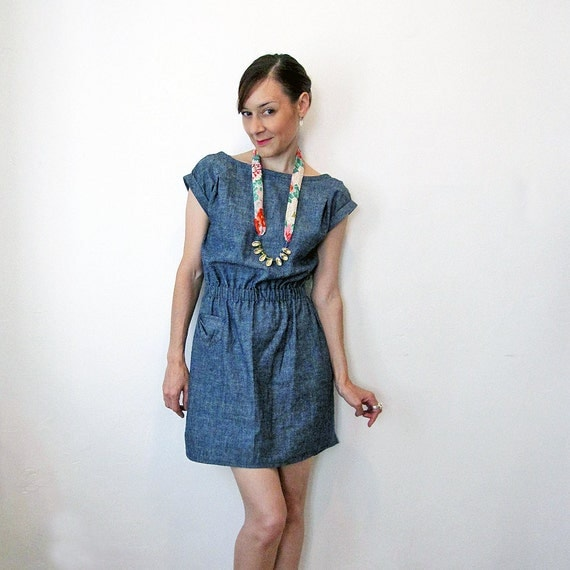 Milan Eco Denim dress - Hemp & Organic cotton denim / Eco fashion dress