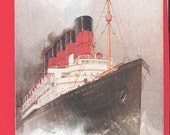 Alte Ansichtskarte Cunard RMS Mauretania Kunst gezeichnet Schiff Liner shipping Boot Cunard Line Boot Ocean Liner Steamer