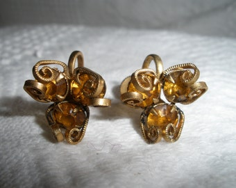 Vintage Earrings Screw Back Amber Gold Faux Stone and Gold Tone Three Stones Retro Costume Jewelry