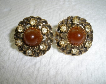 Vintage Earrings Clip On Round Brown Faux Stone and Rhinestone Gold Tone Retro Costume Jewelry