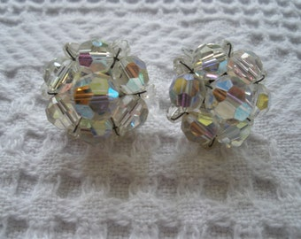 Vintage Earrings Clip On Iridescent Clear Beads Retro Sparkly Costume Jewelry Silver Tone