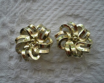 Vintage Earrings Clip On HS Signed Gold Tone Flower Costume Jewelry