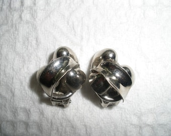 Vintage Earrings Clip On Silver Metal Costume Jewelry Clip