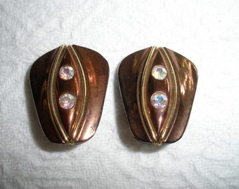 Vintage Earrings Clip On West Germany Copper Color with Rhinestones Costume Jewelry Stamped Signed