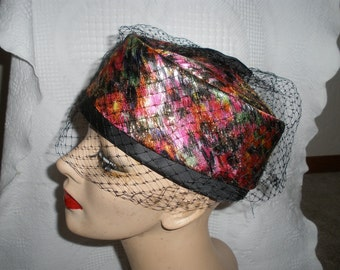 Vintage Pillbox Hat Multi Colored with Black Veil and Bow Union Made