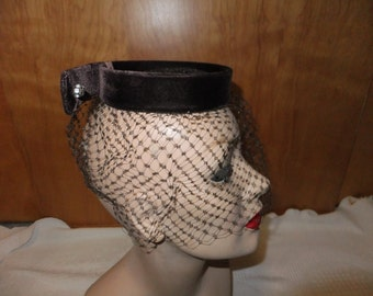 Vintage Brown Velvet Hat Net Veil