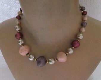 Vintage Bead Choker Necklace Purple Pink Cream Gold Tone Retro Costume Jewelry Pastel