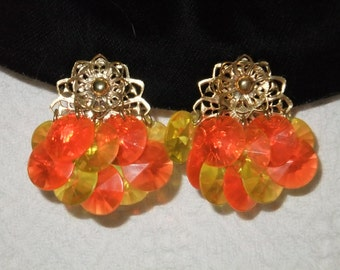 Vintage Earrings Clip On Orange and Yellow Plastic Beads Gold Tone Costume Jewelry