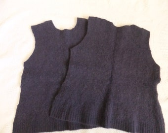 Felted Lambswool Angora Blend Sweater Remnants Purple Cable Recycled Wool Fabric Material