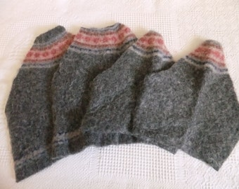 Felted Wool Sweater Remnants Gray with Red Design Recycled Material