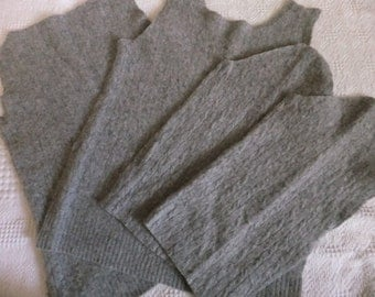 Felted Wool Blend Sweater Remnants Gray Cable Recycled Material