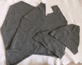 Felted Merino Wool Angora Sweater Remnants Dark Gray Recycled Material