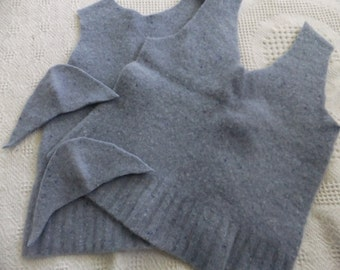 Felted Lambswool Sweater Remnants Blue Recycled Wool Material