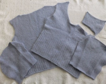 Felted Angora Nylon Blend Sweater Remnants Blue Recycled Wool Fabrica Material