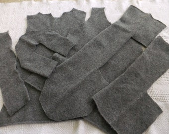 Felted Lambswool Blend Sweater Remnants Gray Recycled Wool Fabric Material
