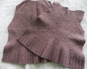Felted Wool Sweater Remnants Purple Recycled Fabric Material