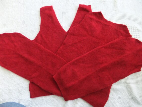 Felted Cashmere Sweater Remnants Red Recycled Wool Fabric Material