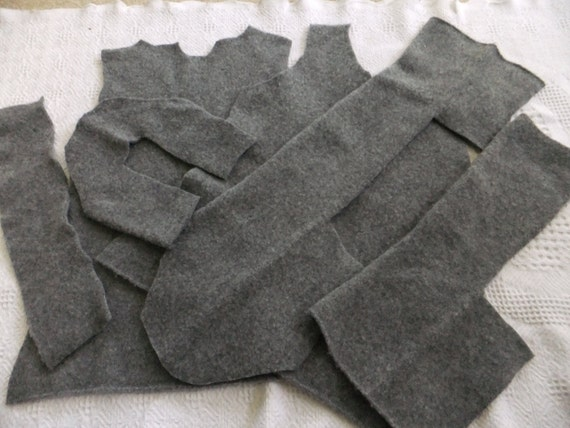 Felted Lambswool Blend Sweater Remnants Gray Recycled Wool Fabric Material Craft Sewing Upcycle