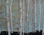 Let Me Come and Be Still in Your Silence, Birch Tree, aspen tree giclee print 12 x 24