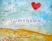 "I Love You As Big as the Sky, 24 x 24"", heart love giclee print"