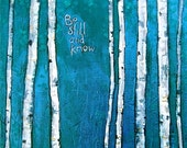 Be Still and Know - 12 x 12 birch tree painting, blue modern abstract