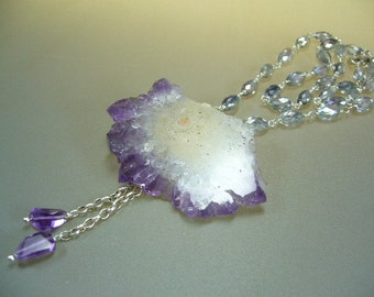 Amethyst Stalactite Sterling Silver Mystic Topaz Necklace by Perlasmil1