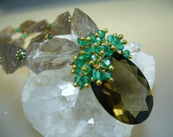 Emerald Smoky Topaz Gold Necklace by Perlasmil1