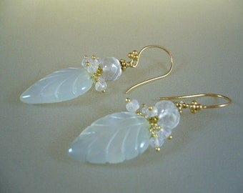 Carved White Chalcedony Leaf Wire Wrapped Gold Earrings