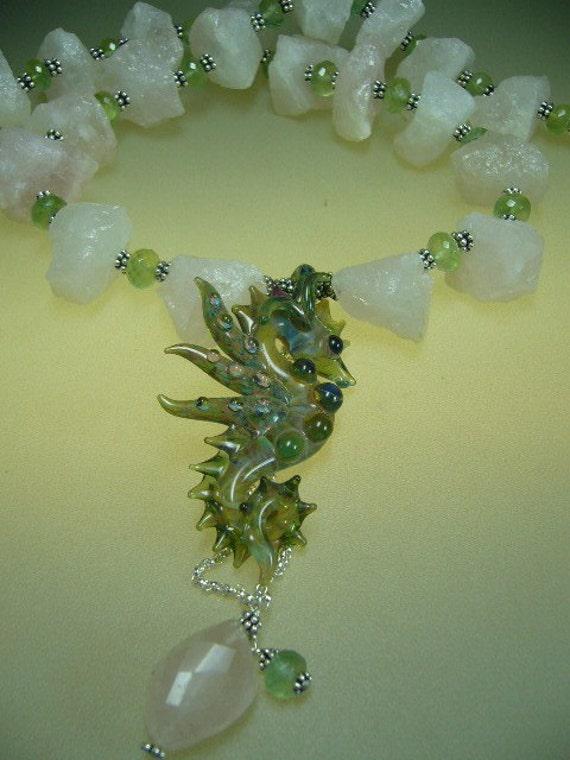 Boro lampwork seahorse rose quartz sterling silver necklace