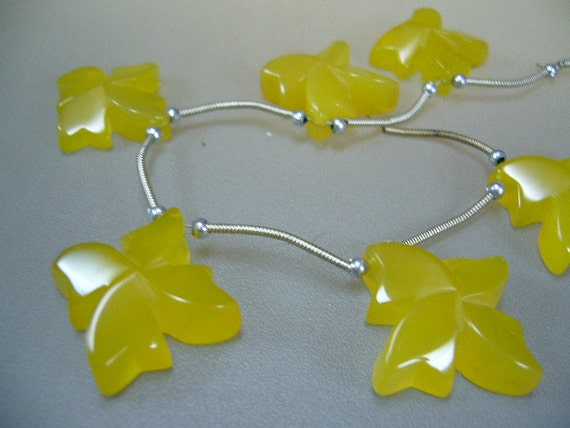 Carved Yellow Chalcedony Flower Briolettes Trio