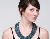 Hand Printed Snakeskin Fabric Necklace in Dark Teal, Gold, and Magenta
