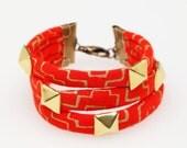 Studded Hand Printed Fabric Bracelet in Poppy Gold Cross