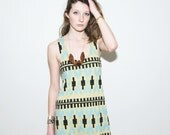 Byzantine Tank Dress in Mint and Black on Pistachio
