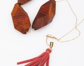 Hand Carved Coco Bead Necklace with Sienna Fabric Tassel