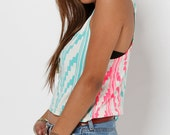 Racerback Mini Tank with in Glow in Dark Mint and Hot Pink Southwest Print