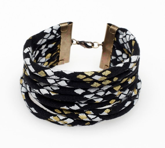 Hand Printed Snakeskin Cuff in Black Gold and White
