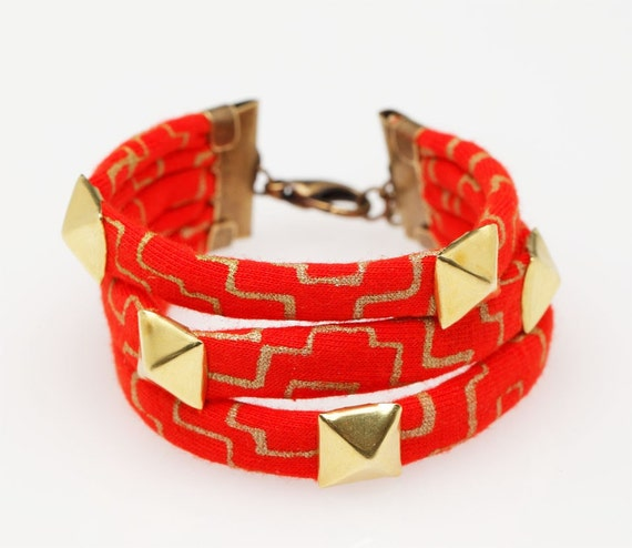 Studded Hand Printed Fabric Bracelet in Poppy Gold Cross