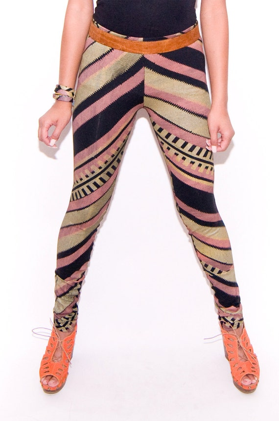 Hand Printed Zig Zag Leggings in Gold, Rose and Black