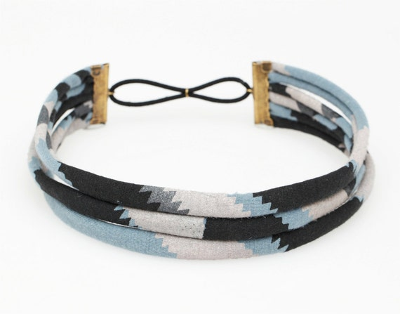 Hand Printed 'Zigzag' Headband in Black, Pink and Slate