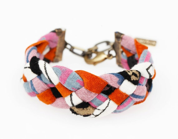 Braided Bracelet in Sienna, Slate, Pink and White