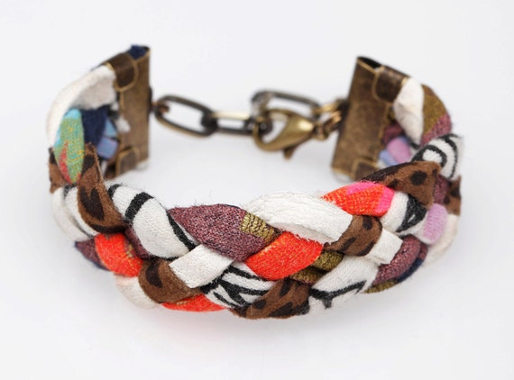Rainbow Bright Braided Cuff Bracelet