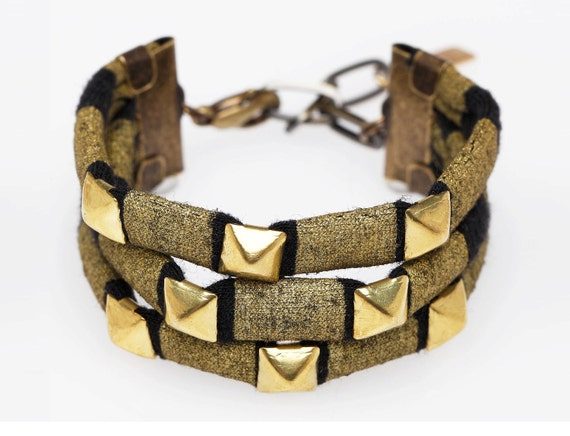 Studded Cuff Bracelet in Gold on Black