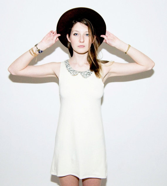 Peter Pan Collar Dress in White Heat Geo