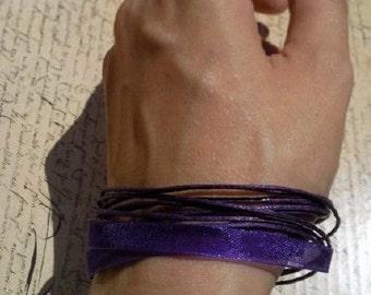 Dark purple versatile satin ribbon thong necklace to bracelet