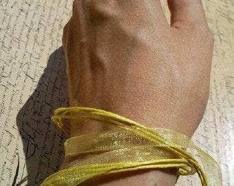 Yellow versatile satin ribbon thong necklace to bracelet