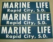 Marine Life Rapid City South Dakota bumper sticker, teal blue, white, dolphin, sea, fish, aquatic, show